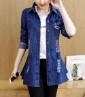 Button Closure Ripped Denim Long Jackets – Dark Blue