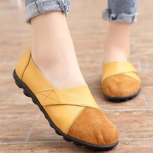 Pu Leather Soft Rubber Sole Women Casual Flat Shoes – Yellow