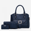 Textured Buckle Front Three Pieces Handbags Set – Dark Blue