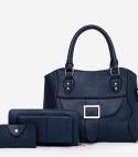 Textured Buckle Front Three Pieces Handbags Set – Dark Blue