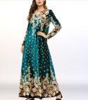 Shiny Velvet Boho Prints Loose Muslim Dress – Green
