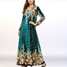 Shiny Velvet Boho Prints Loose Muslim Dress – Green