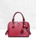 Floral Print Shoulder Bag Retro Fashion Single Bag Red