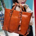 Shiny Brown Shoulder Quality Handbag